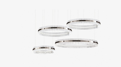 replica Saturno LED 4 rings  chrome Pendant by Baroncelli