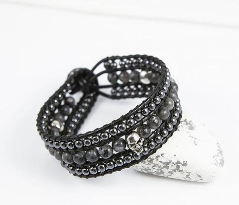 Широкий браслет напульсник из натурального камня