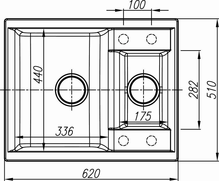Схема кухонная мойка Dr. Gans Astra 620K