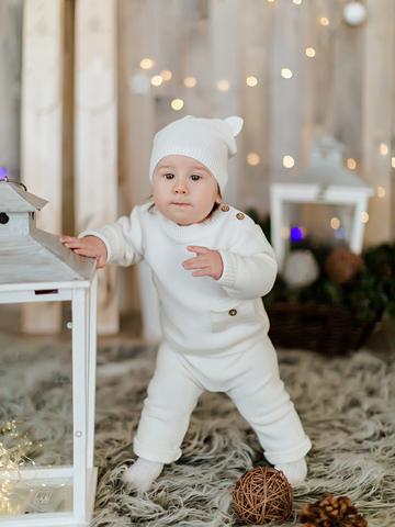 Лапушка. Комплект детский с шапочкой, белый