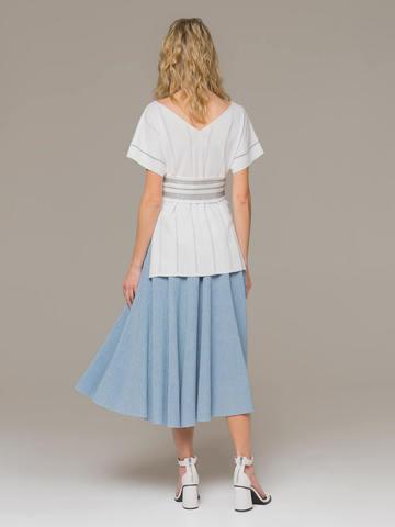 Light blue female midi skirt - фото 3