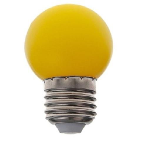 Светодиодная лампа - шарик, 1Вт, Е27, желтая.