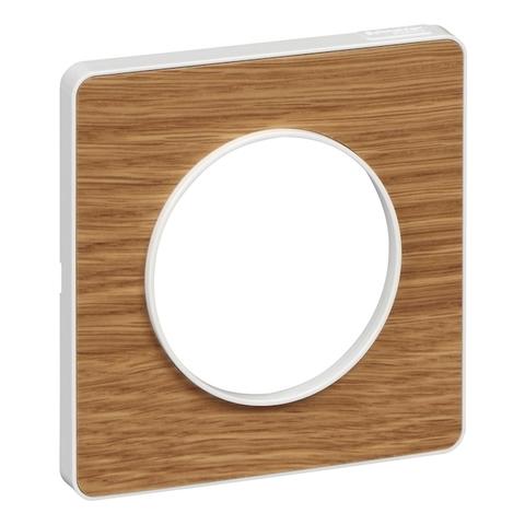 Рамка на 1 пост. Цвет Ольха, белая вставка. Schneider Electric(Шнайдер электрик). Odace(Одес). S52P802N