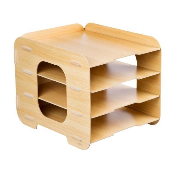 Накопитель для бумаг, Lejoys, Wood, 4 секции, 280*330*280 мм