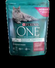 Purina One полноценный корм для взрослых кошек с говядиной и злаками 750гр