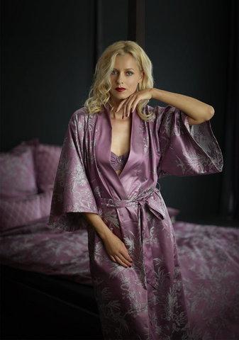 Элитный халат-кимоно сатиновый Natur сиреневый от Curt Bauer