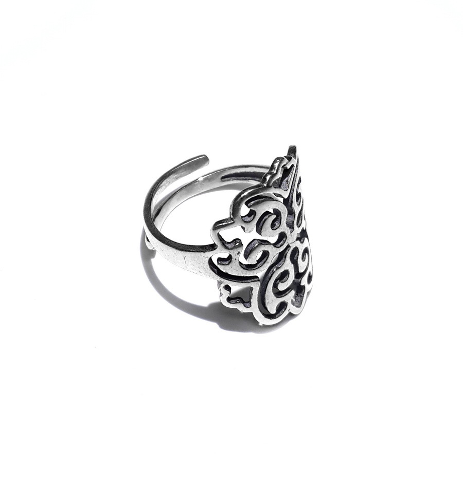 Ring with ornament, sterling silver