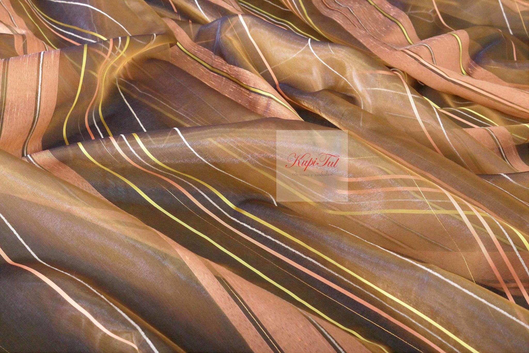 Тюль в полоску. Аида (коричневый)