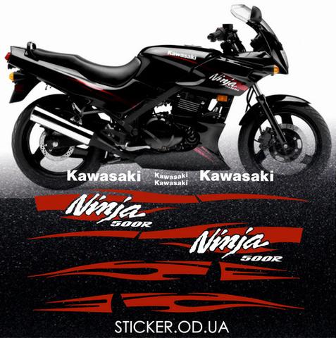 Набор виниловых наклеек на мотоцикл KAWASAKI NINJA 500R, 2010