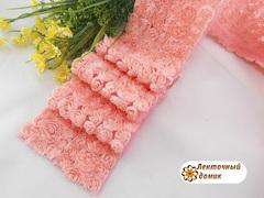 Ткань Розы на сетке персиковая