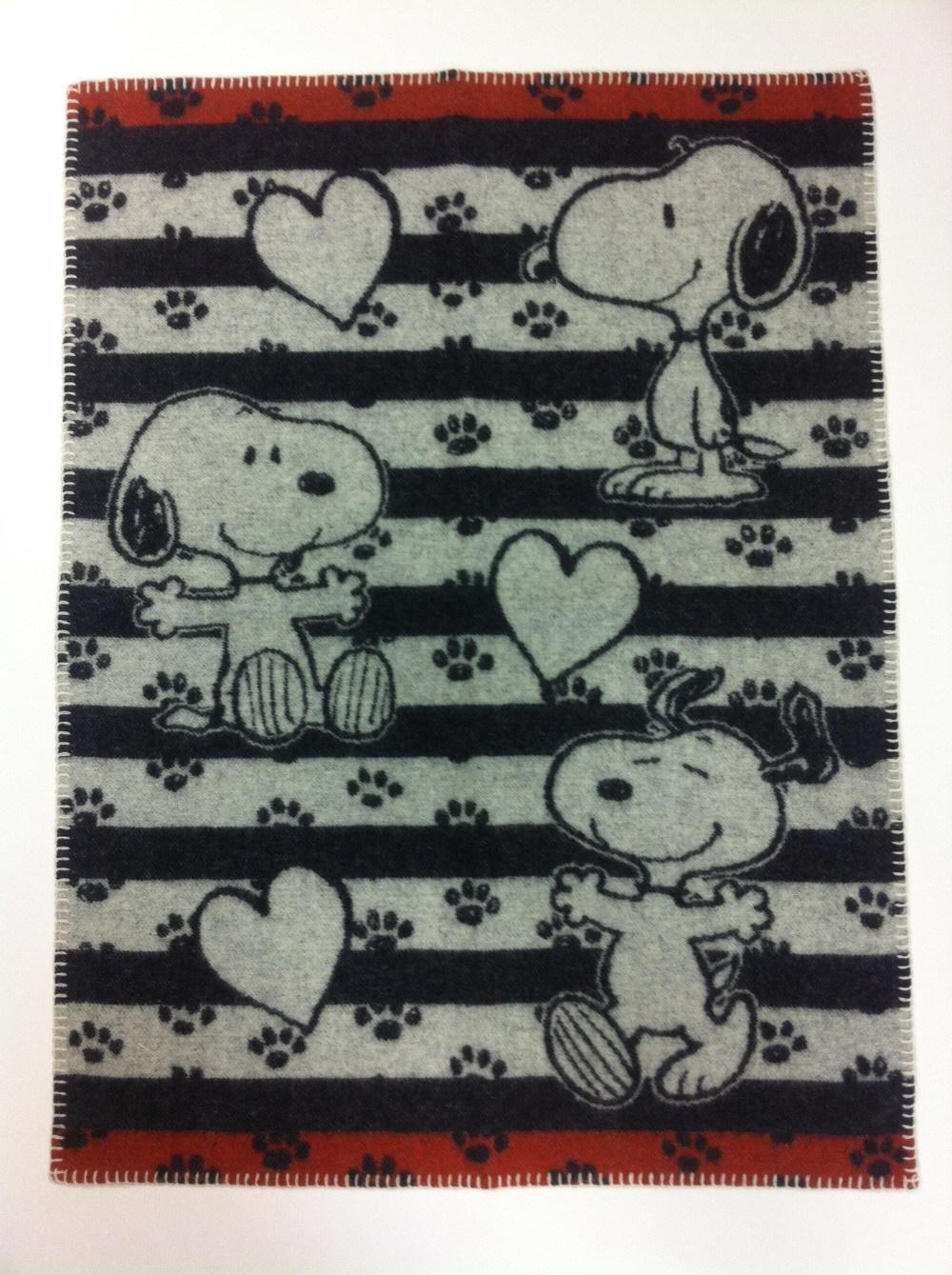Байковое одеяло СНУПИ, KLIPPAN, 70x90cm , 100% хб, черно/ белый