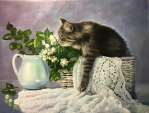 Картина раскраска по номерам 40x50 Кошка в корзине и цветы ...