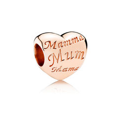 Heart Rose Charm with MUM in different Languages