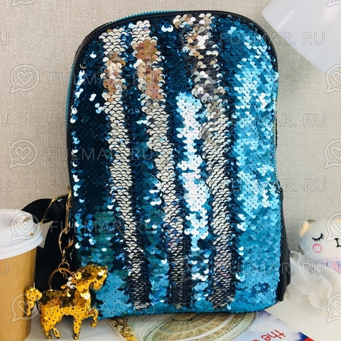 Рюкзак с пайетками меняющий цвет Голубой- Себеристый и брелок Единорог MILA