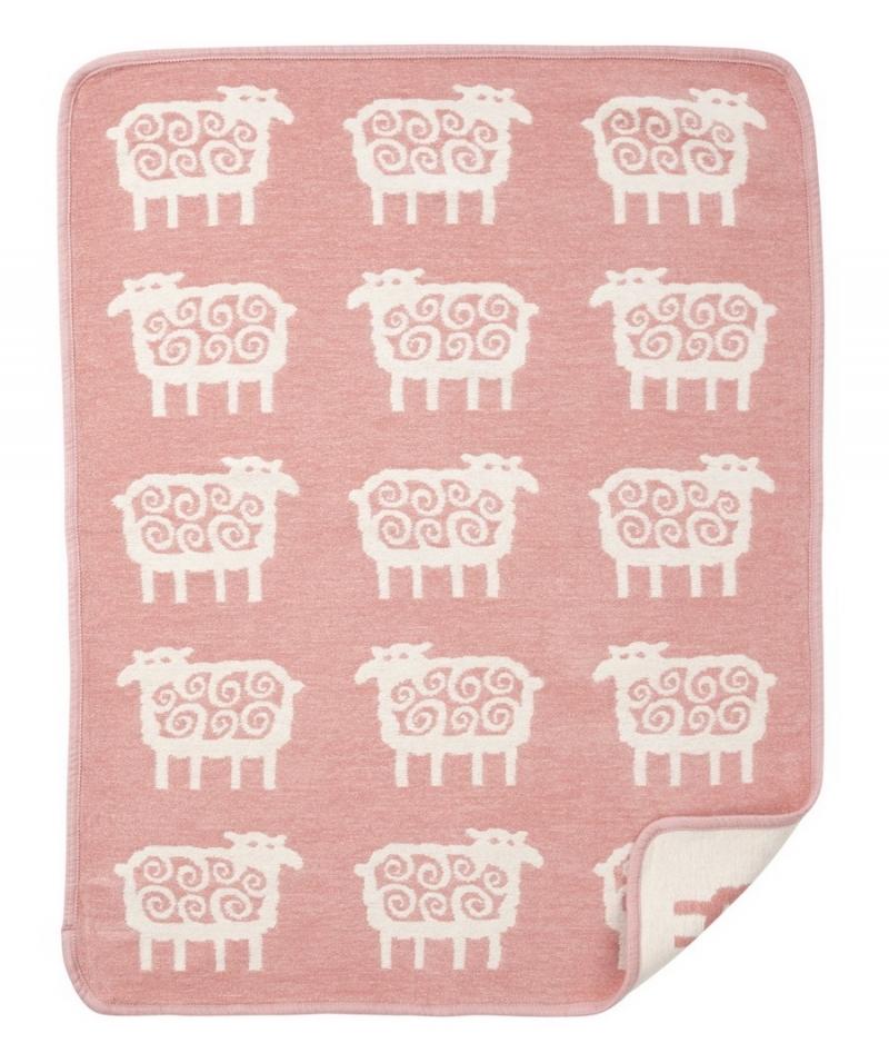 Детский плед, хлопок-ЭКО, Klippan, ОВЕЧКИ, 70x90 см, розовый-белый
