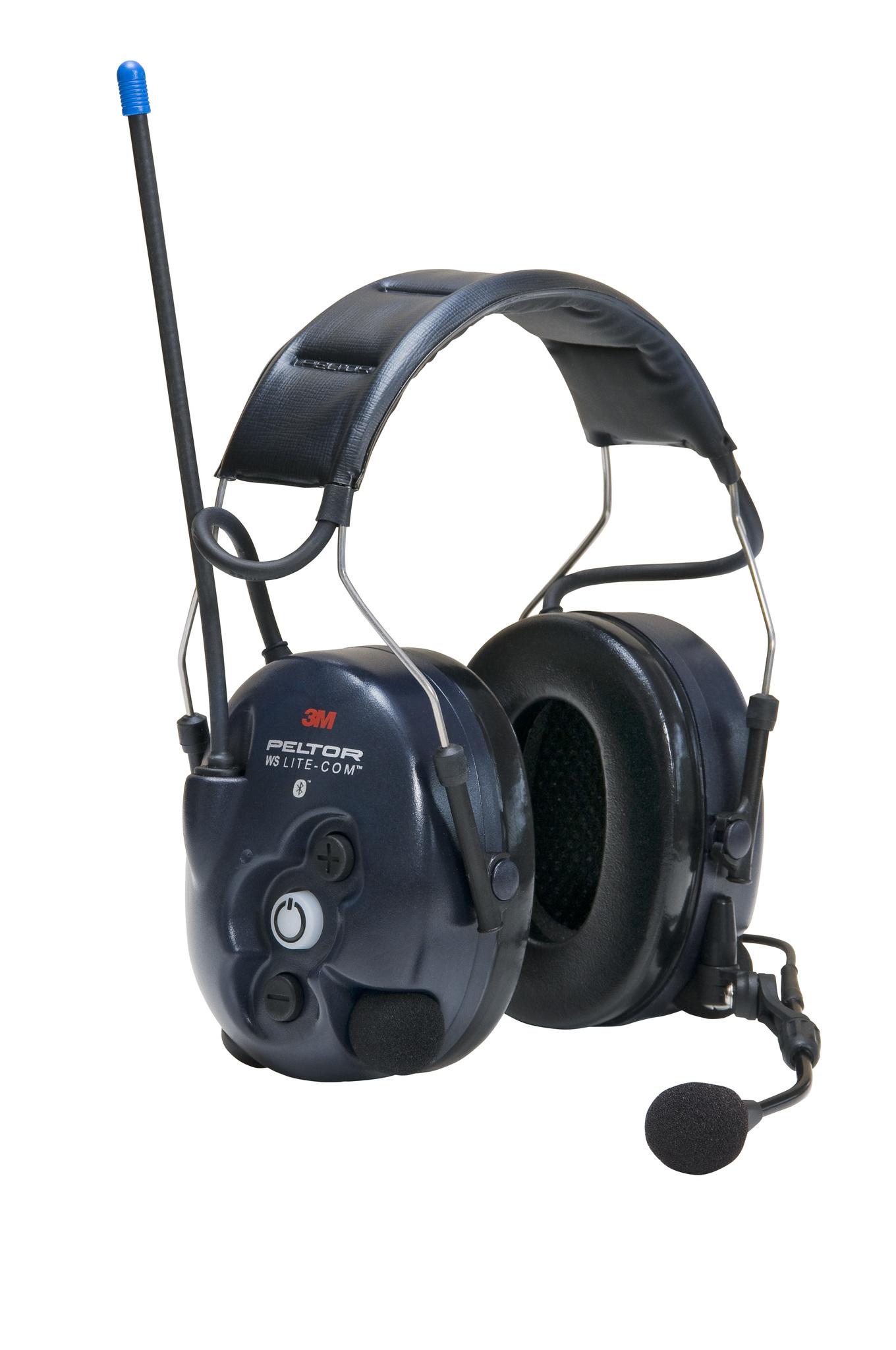 Активные наушники WS LiteCom, микрофон на жёсткой штанге, стандартное оголовье, Bluetooth, тёмно-синие чашки