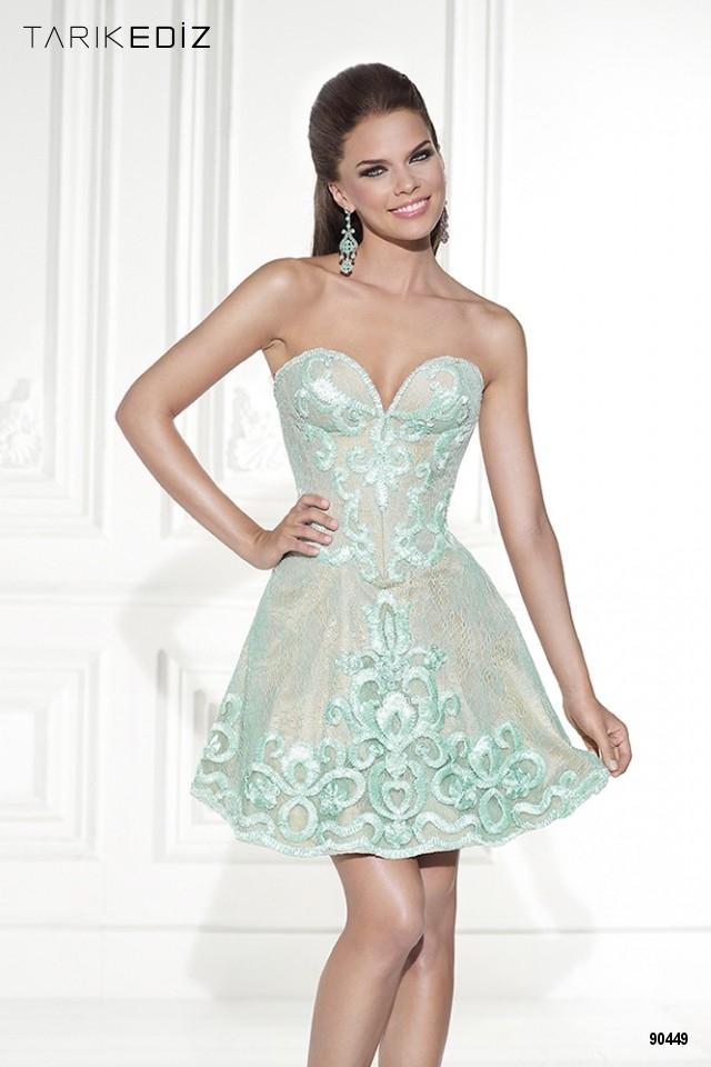 Короткое платье в цвете CREAM Tarik Ediz 90449
