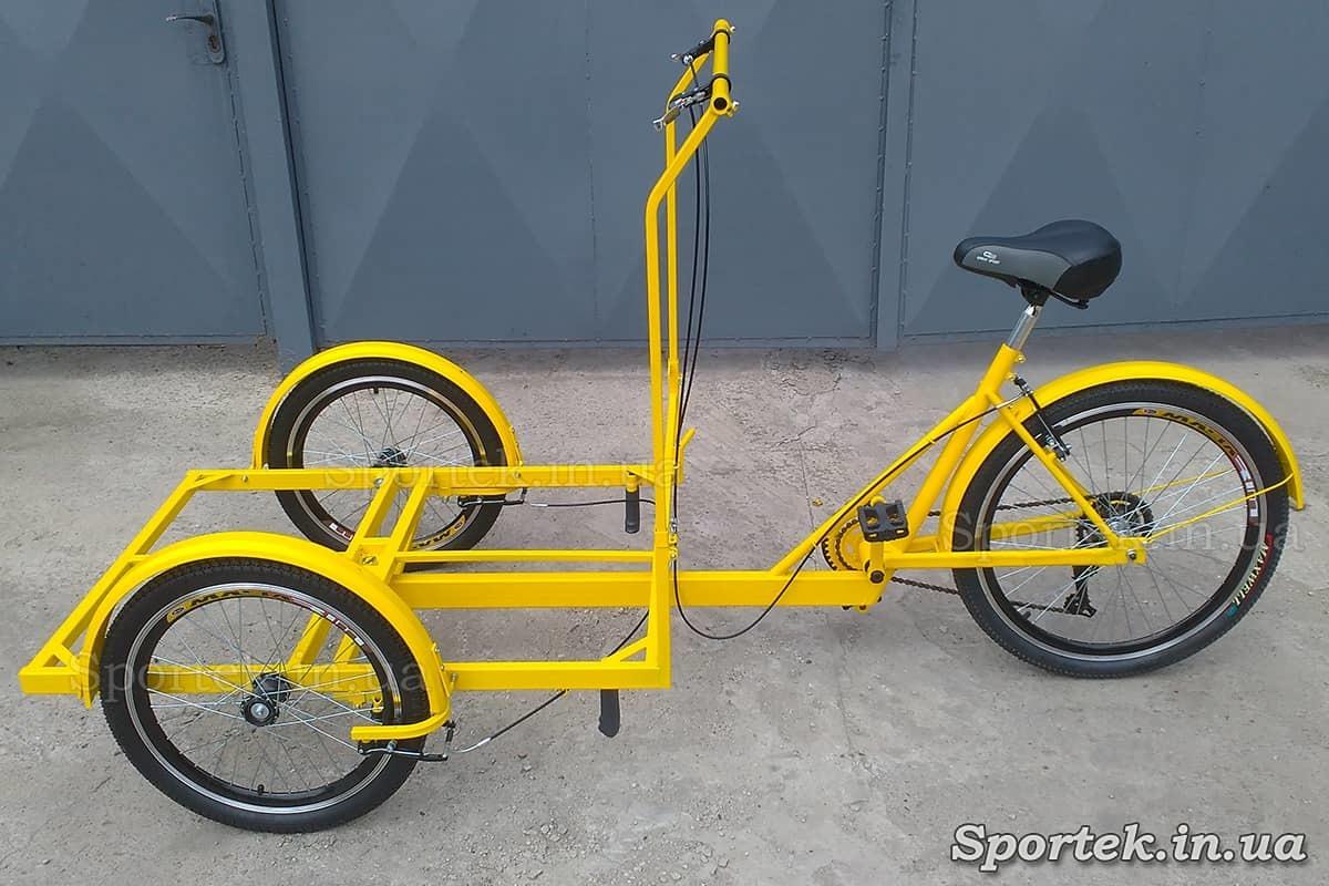 Трехколесный велосипед с передней платформой для уличной торговли 'Кофейный' (желтый)