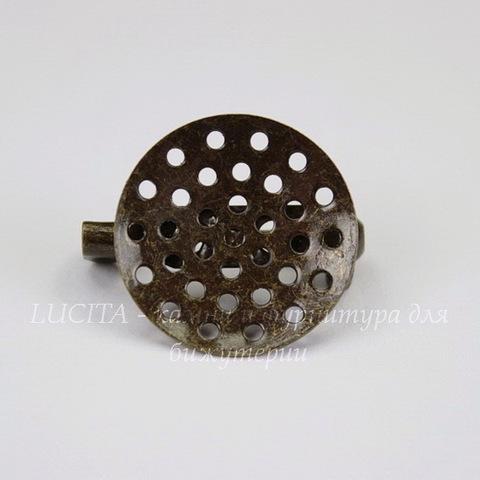 Основа для броши с диском 18 мм (цвет - античная бронза)
