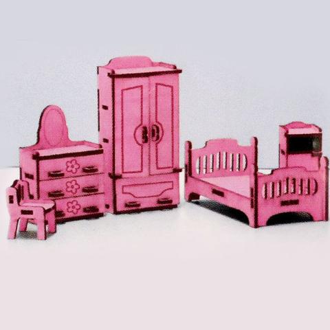 Набор сборной кукольной цветной мебели с гравировкой