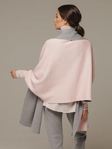 Женский шарф с рукавами и комбинацией розового и серого цветов из 100% шерсти - фото 3
