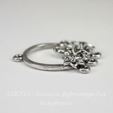 "Коннектор ""Цветочки"" (1-5) 34х29 мм (цвет - античное серебро)"