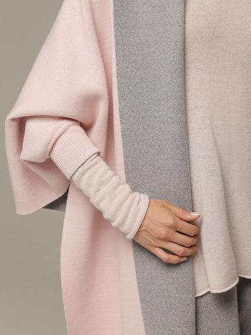 Женский шарф с рукавами и комбинацией розового и серого цветов из 100% шерсти - фото 2