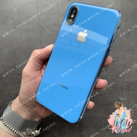 Чехол iPhone X/XS Glass Silicone Case Logo /blue/