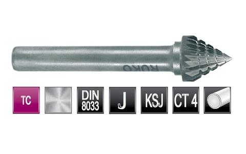 Бор-фреза Ruko твердосплавная J(KSJ) 60° 3,0х3мм S=3мм 116222