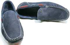 Мужские мокасины летние стиль smart casual Faber 142213-7 Navy Blue.
