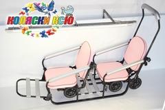 Санки коляска для двойни с выдвижными колёсами