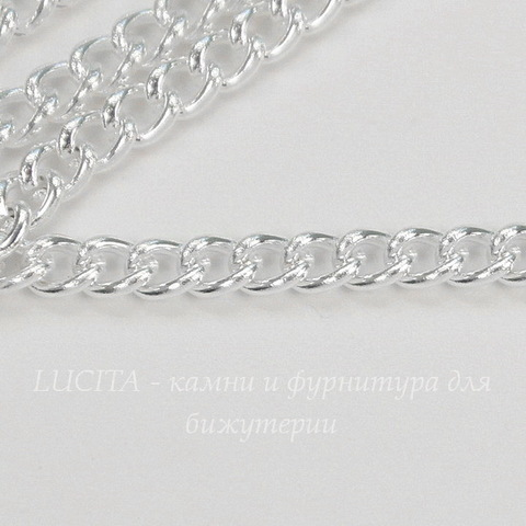 Цепь (цвет - серебро) 4х3 мм, примерно 2 м