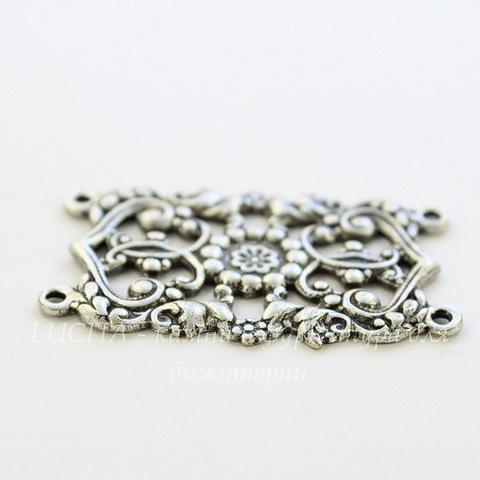 Винтажный декоративный элемент - коннектор (2-2) 42х26 мм (оксид серебра) (темные)