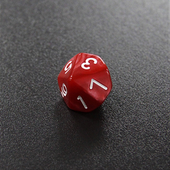 Красный мраморный десятигранный кубик (d10) для ролевых и настольных игр