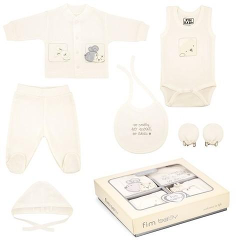 Набор одежды для детей FIMBABY 200077 от 0 до 6 мес. 7 предметов (р.62 бежевый цвет)