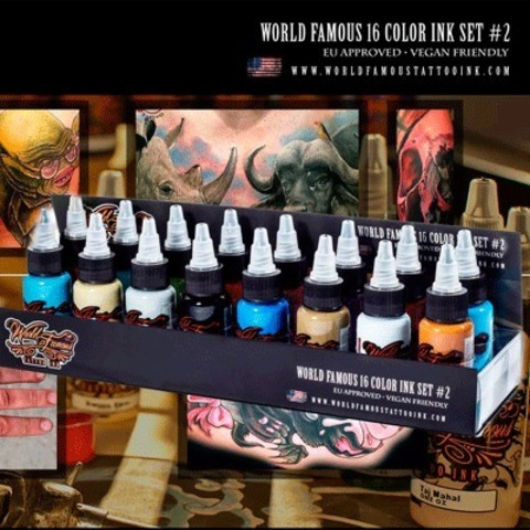 Краска World Famous Tattoo Ink World Famous 16 Color Ink Set #2