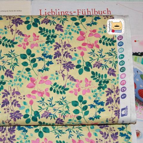 Ткань для пэчворка 20886 (листья на светло-жёлтом) 45х55см