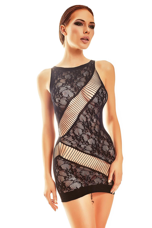 Черное мини платье-сетка