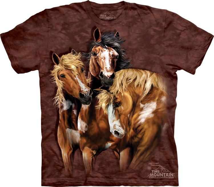 Футболка Mountain с изображением восьми лошадей - Find 8 Horses.