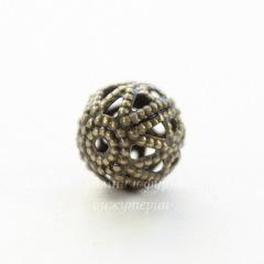 Винтажный элемент - бусина шарик филигрань 8 мм (оксид латуни)