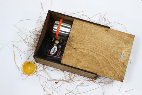 Набор чай с термокружкой №2 в деревянном коробе