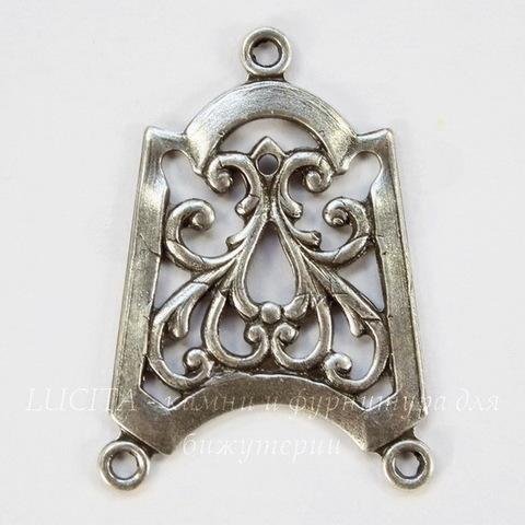 Винтажный декоративный элемент - коннектор (1-2) 28х20 мм (оксид серебра)
