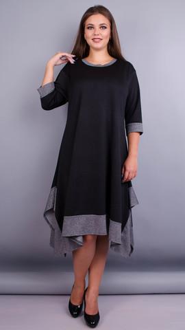Адажио. Прелестное платье больших размеров. Черный.