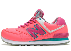 Кроссовки Женские New Balance 574 Coral Pink White Turquoise