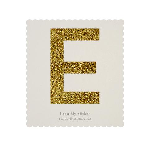 Стикер E, мерцающее золото