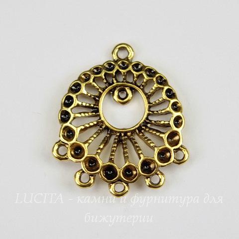 """Коннектор """"Плетеный"""" (1-5) 27х22 мм (цвет - античное золото)"""