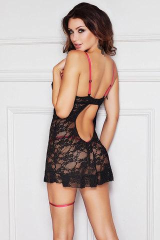 Черная эластичная кружевная сорочка короткая с розовыми стрэпами открытой грудью Anais эротическая вид сзади