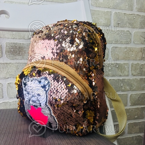 Маленький рюкзак с пайетками меняет цвет Пудровый-Золотистый Нашивка Мишка меняет цвет, брелок Единорог
