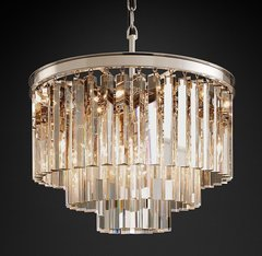1920s Odeon Clear Glass Fringe 3-Tier Chandelier