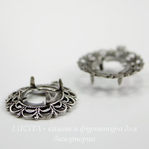 """Сеттинг - основа - подвеска """"Ажур"""" для камеи или кабошона 12х10 мм (оксид серебра)"""